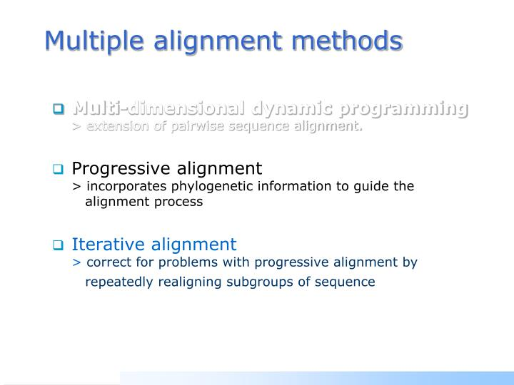 Multiple alignment methods