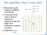 the algorithm step 3 trace back