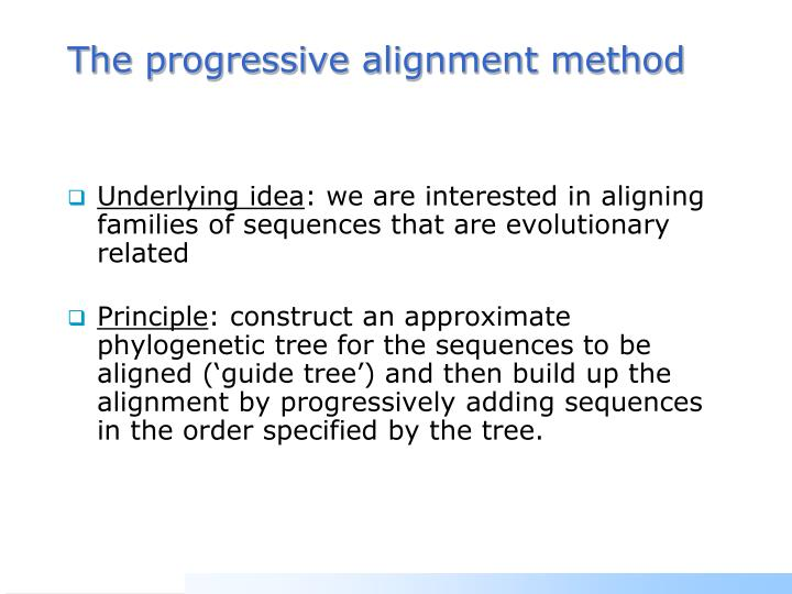 The progressive alignment method