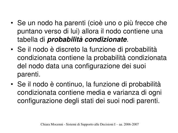 Se un nodo ha parenti (cioè uno o più frecce che puntano verso di lui) allora il nodo contiene una tabella di