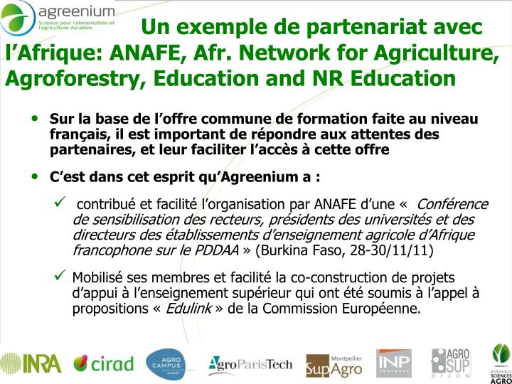 Un exemple de partenariat avec l'Afrique: ANAFE, Afr. Network for Agriculture, Agroforestry, Education and NR Education