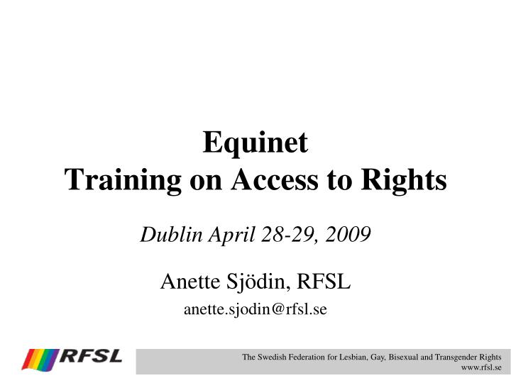 Equinet training on access to rights