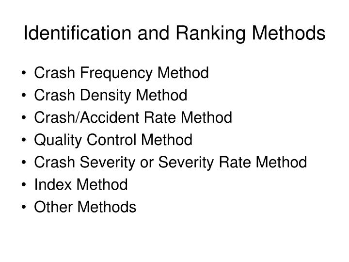Identification and Ranking Methods