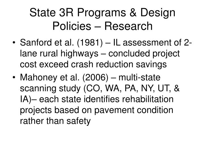 State 3R Programs & Design Policies – Research