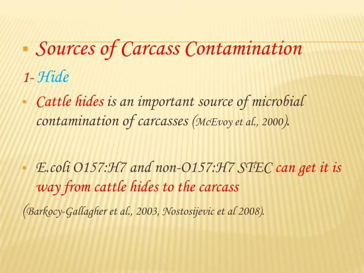 Sources of Carcass Contamination