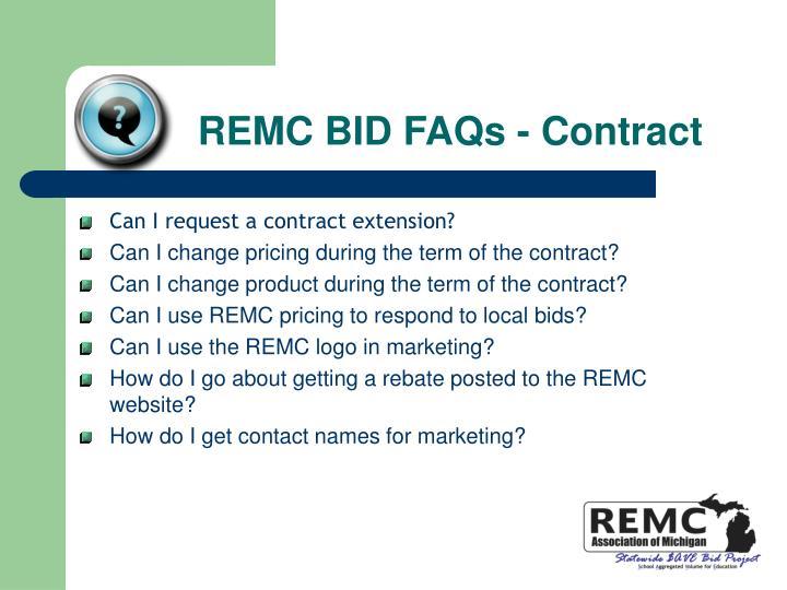 REMC BID FAQs - Contract