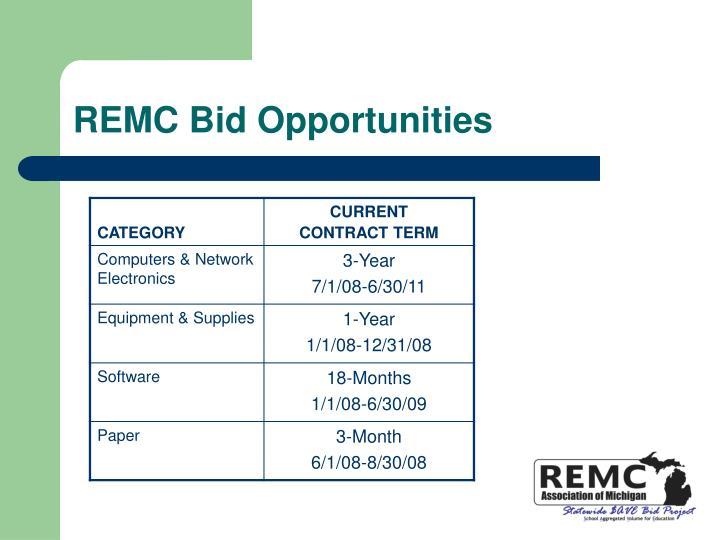 REMC Bid Opportunities