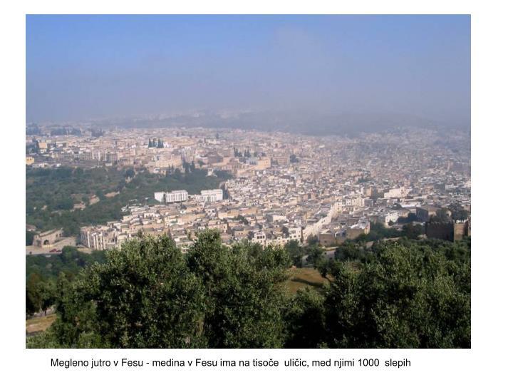 Megleno jutro v Fesu - medina v Fesu ima na tisoče  uličic, med njimi 1000  slepih