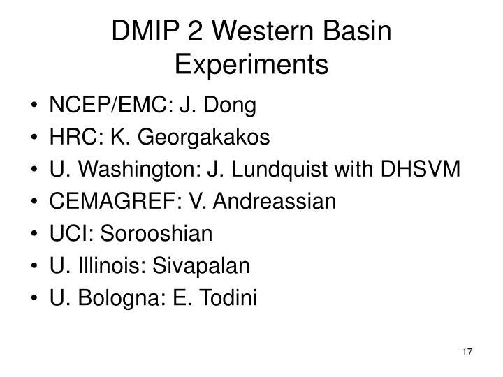 DMIP 2 Western Basin Experiments