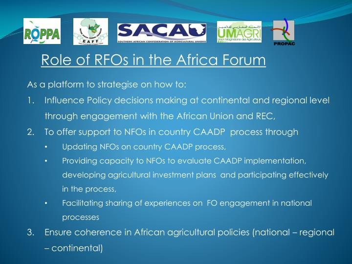Role of RFOs in the Africa Forum