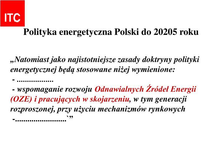 Polityka energetyczna Polski do 20205 roku