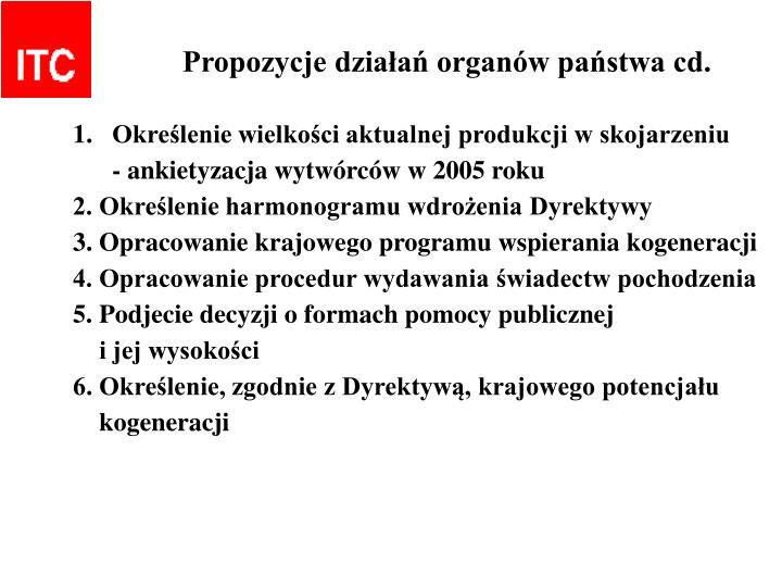 Propozycje działań organów państwa cd.