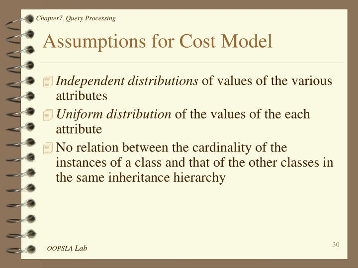 Assumptions for Cost Model