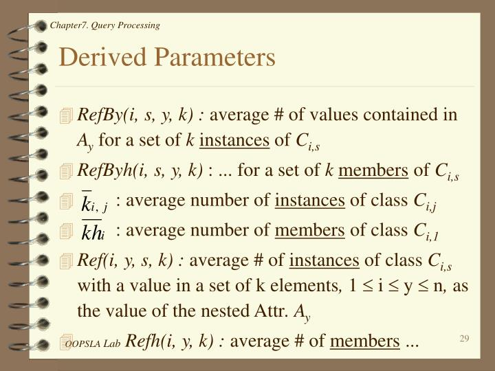 Derived Parameters
