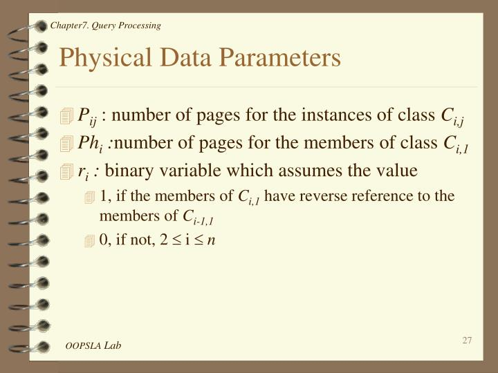 Physical Data Parameters