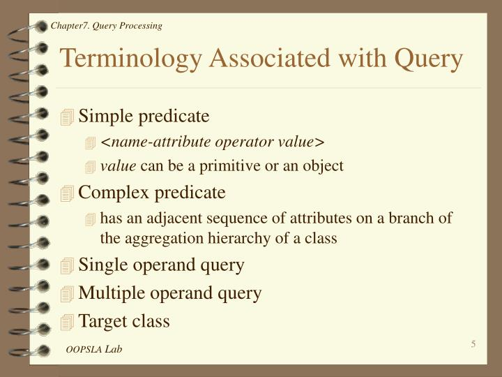 Terminology Associated with Query