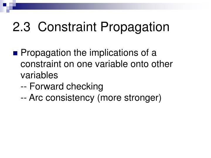 2.3  Constraint Propagation