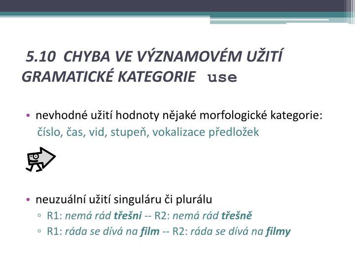 5.10 CHYBA VE VÝZNAMOVÉM UŽITÍ GRAMATICKÉ KATEGORIE