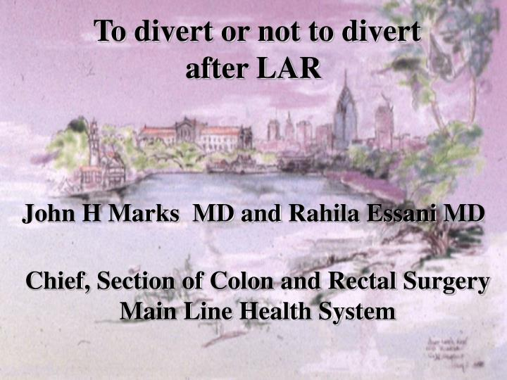 To divert or not to divert