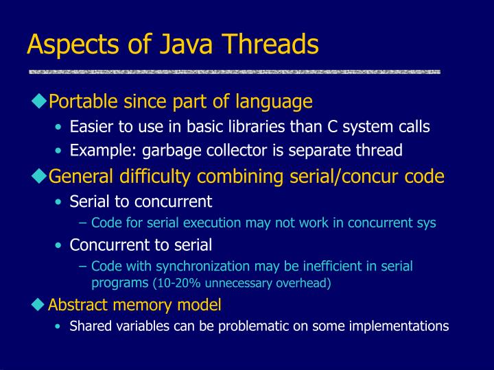 Aspects of Java Threads