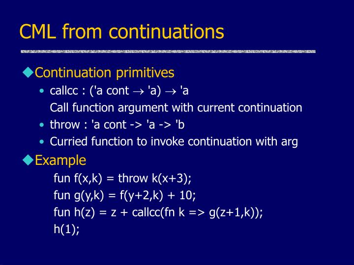 CML from continuations