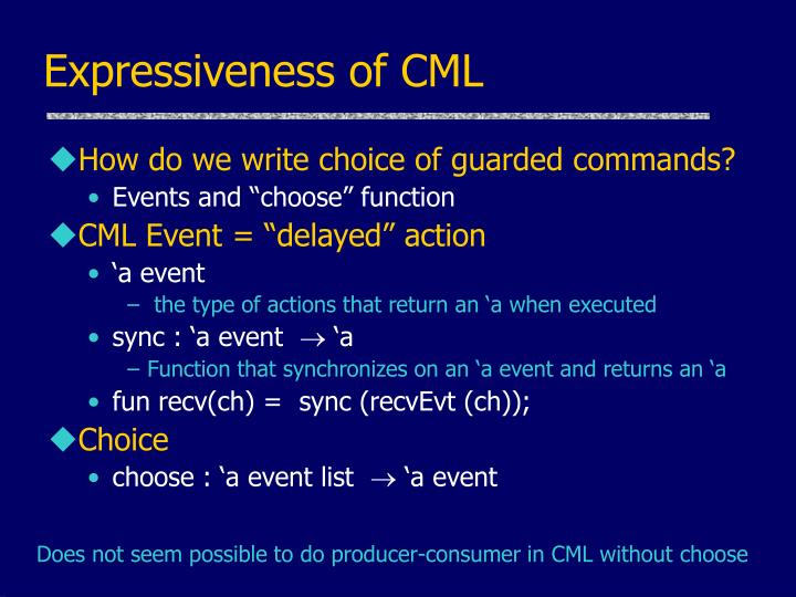 Expressiveness of CML