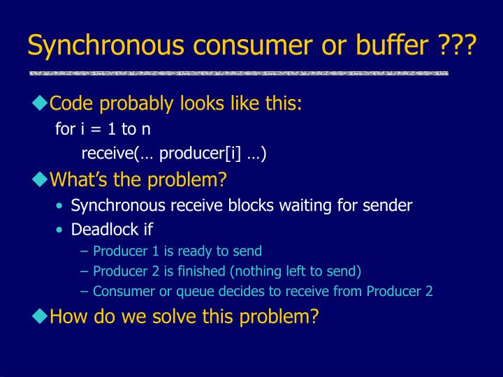 Synchronous consumer or buffer ???