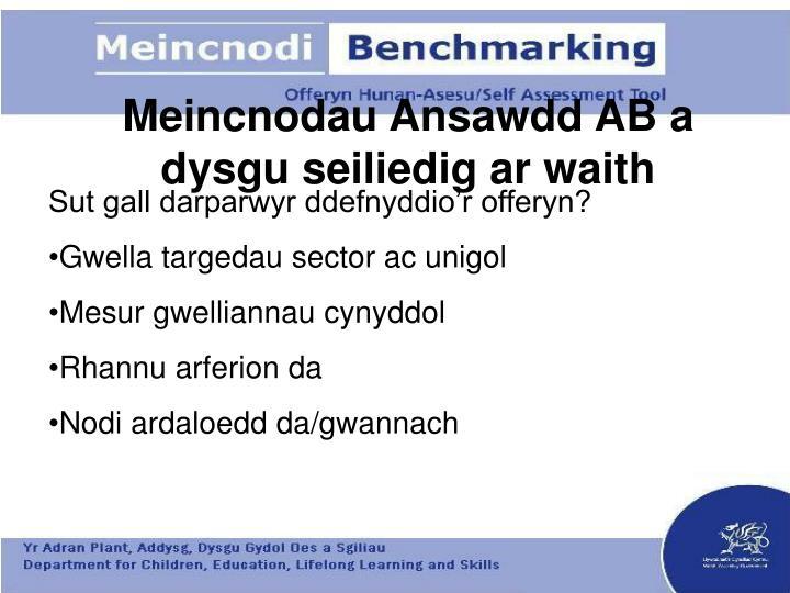 Meincnodau Ansawdd AB a dysgu seiliedig ar waith