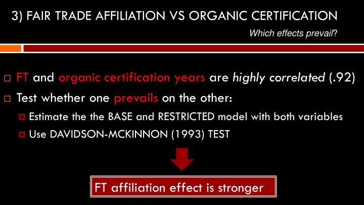 3) FAIR TRADE AFFILIATION VS ORGANIC CERTIFICATION