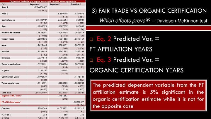 3) FAIR TRADE VS ORGANIC CERTIFICATION