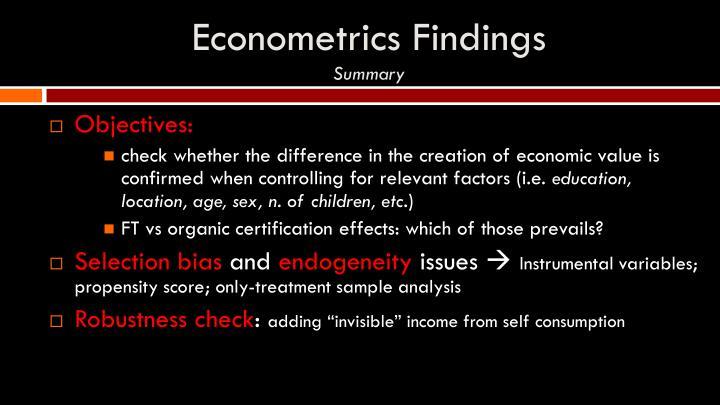 Econometrics Findings