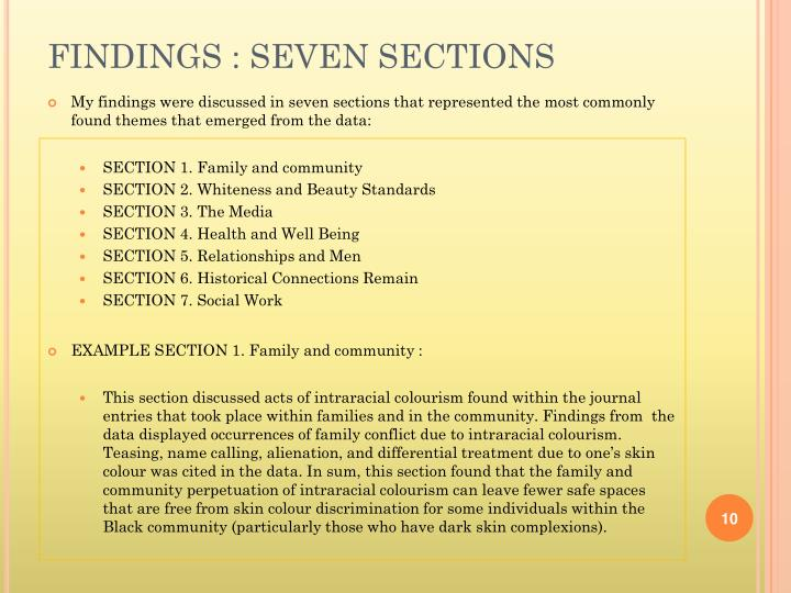 FINDINGS : SEVEN SECTIONS