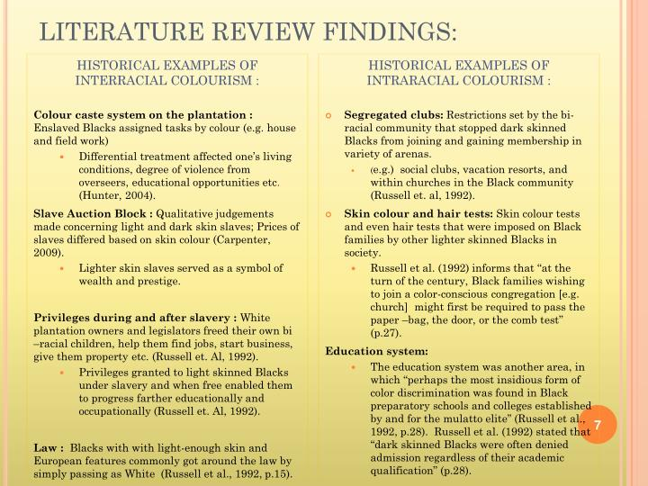LITERATURE REVIEW FINDINGS: