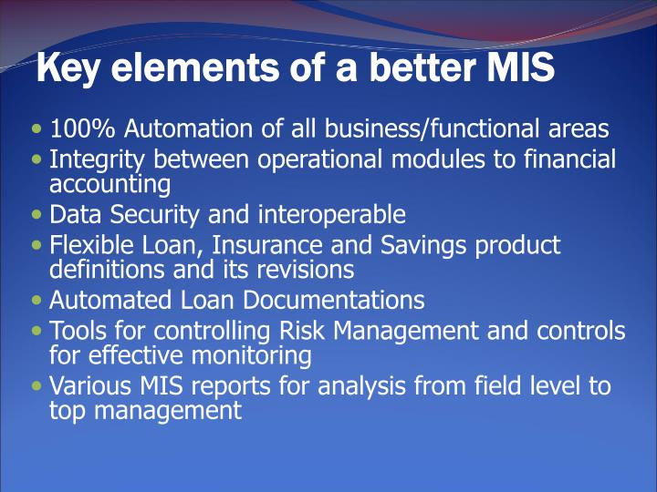 Key elements of a better MIS