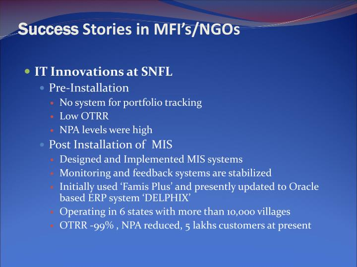 Success stories in mfi s ngos