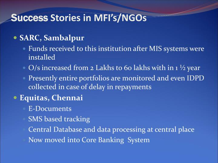 Success stories in mfi s ngos1