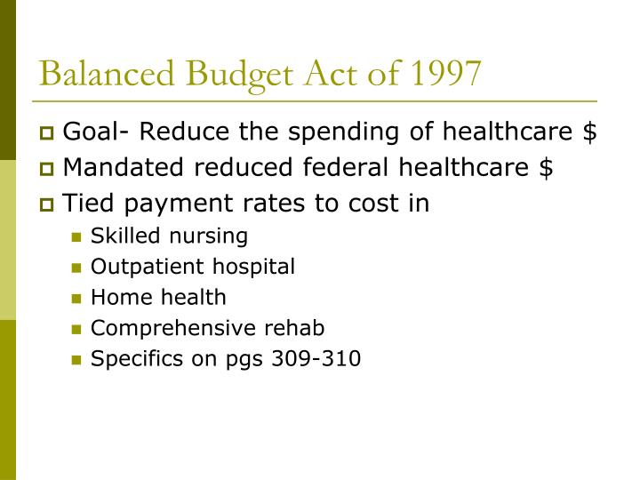 Balanced Budget Act of 1997