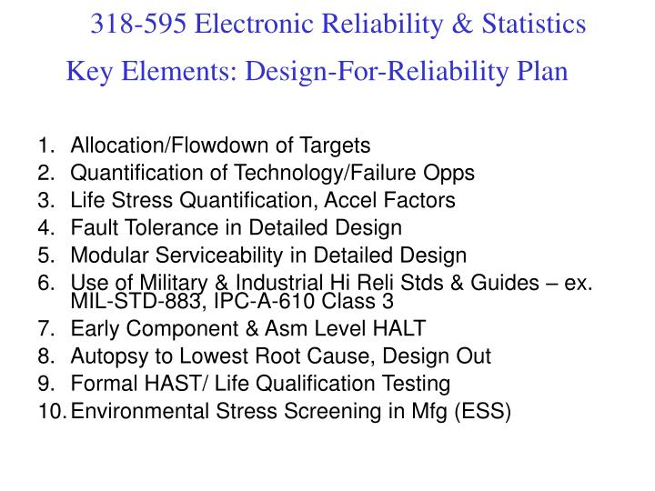 Key Elements: Design-For-Reliability Plan