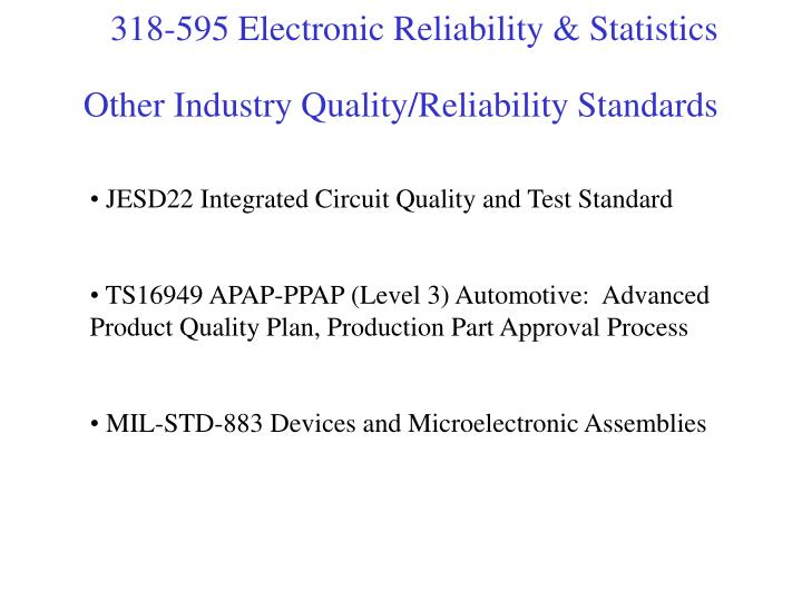 Other Industry Quality/Reliability Standards