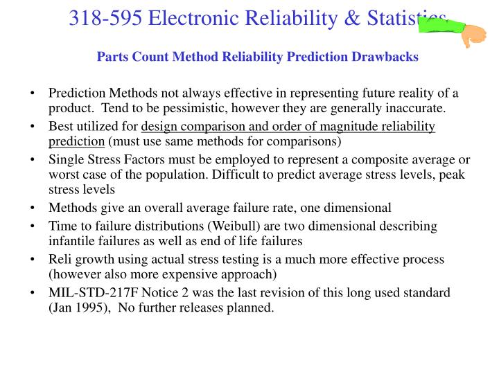 Parts Count Method Reliability Prediction Drawbacks