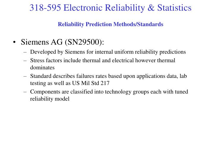 Reliability Prediction Methods/Standards