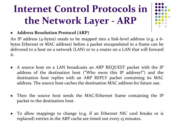 Internet Control Protocols in the Network Layer - ARP