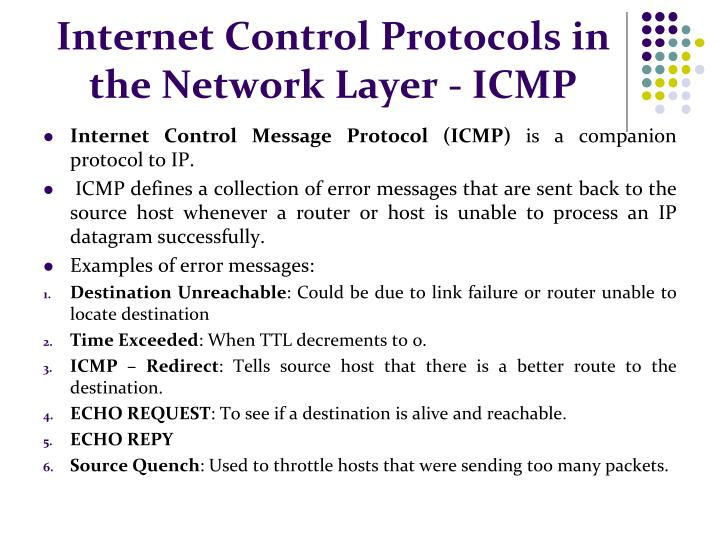 Internet Control Protocols in the Network Layer - ICMP