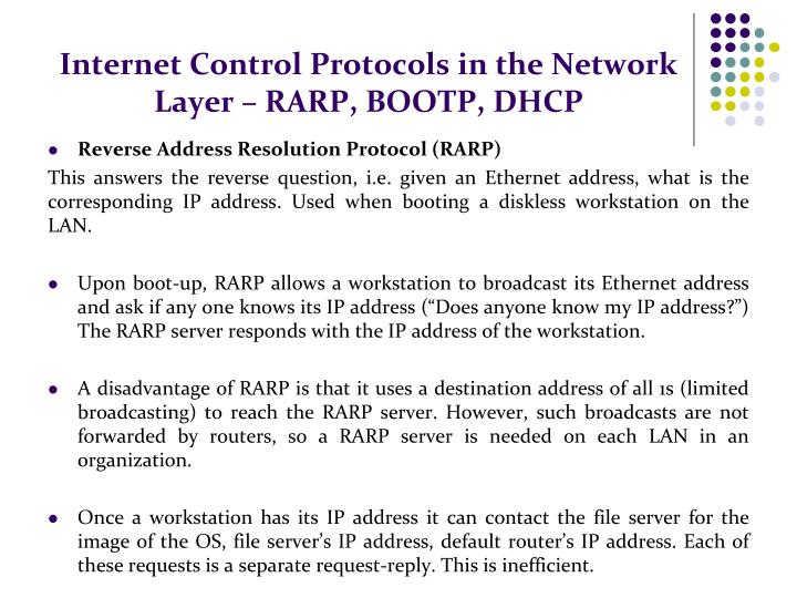 Internet Control Protocols in the Network Layer – RARP, BOOTP, DHCP
