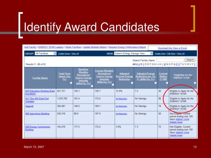 Identify Award Candidates