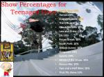 show percentages for teenaged boys