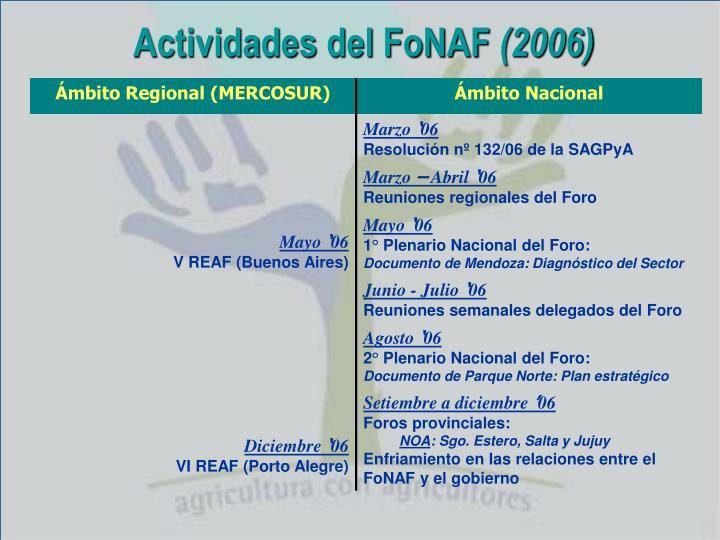 Actividades del FoNAF