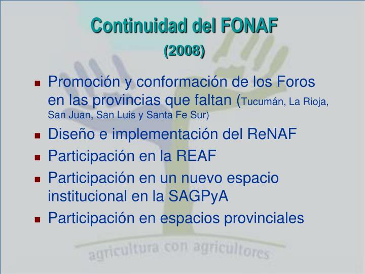 Continuidad del FONAF