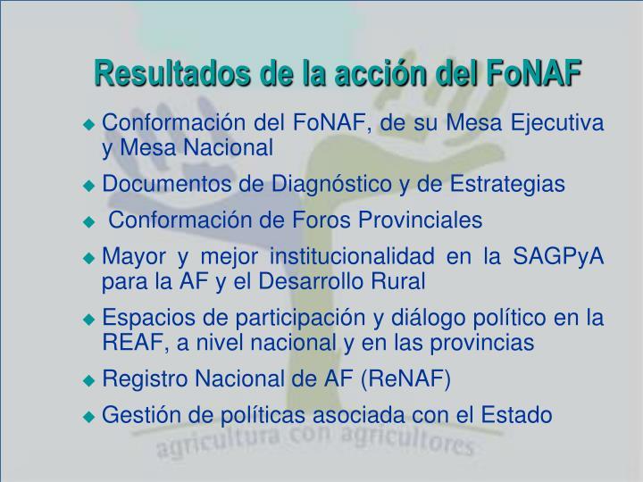 Resultados de la acción del FoNAF