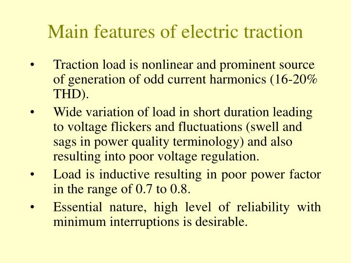 Main features of electric traction